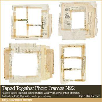 Taped Together Photo Frames No. 02 Digital Art - Digital Scrapbooking Kits