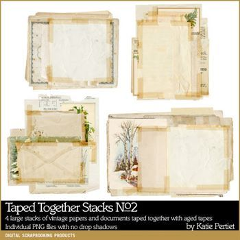 Taped Together Stacks No. 02 Digital Art - Digital Scrapbooking Kits