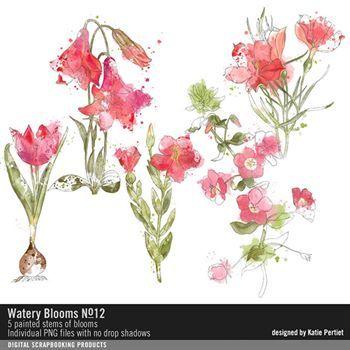 Watery Blumes No. 12 Digital Art - Digital Scrapbooking Kits