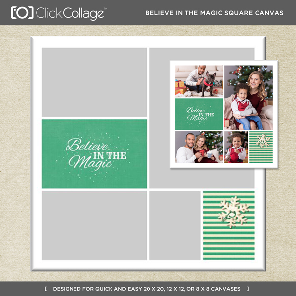 Believe In The Magic Square Canvas Digital Art - Digital Scrapbooking Kits