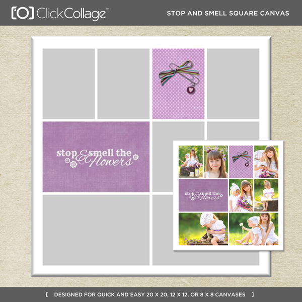 Stop And Smell Square Canvas Digital Art - Digital Scrapbooking Kits