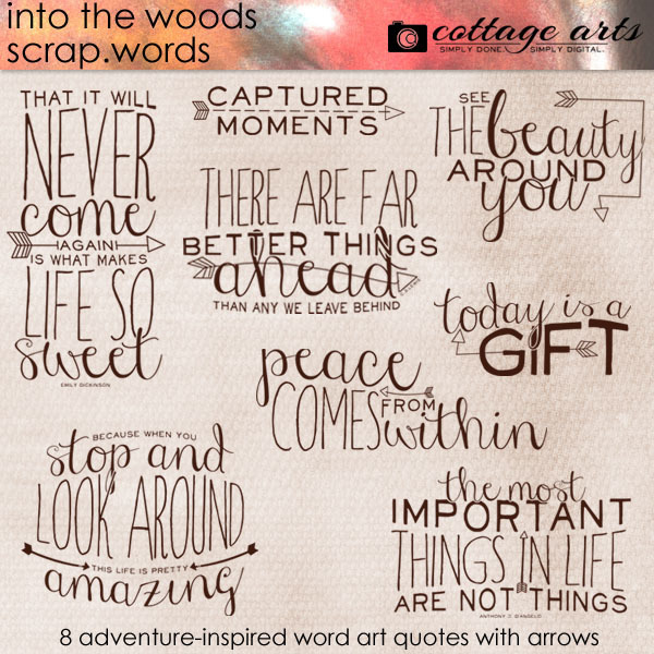 Into The Woods Scrap.words Digital Art - Digital Scrapbooking Kits