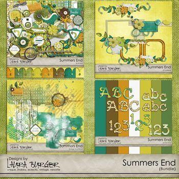Summers End Bundle Digital Art - Digital Scrapbooking Kits