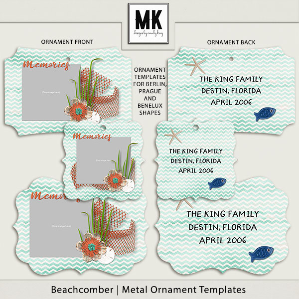 Beachcomber - Metal Ornaments Digital Art - Digital Scrapbooking Kits
