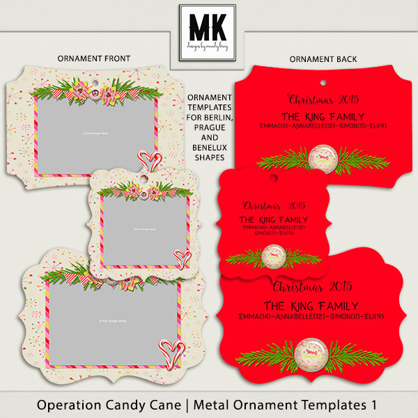 Operation Candy Cane - Metal Ornaments Digital Art - Digital Scrapbooking Kits