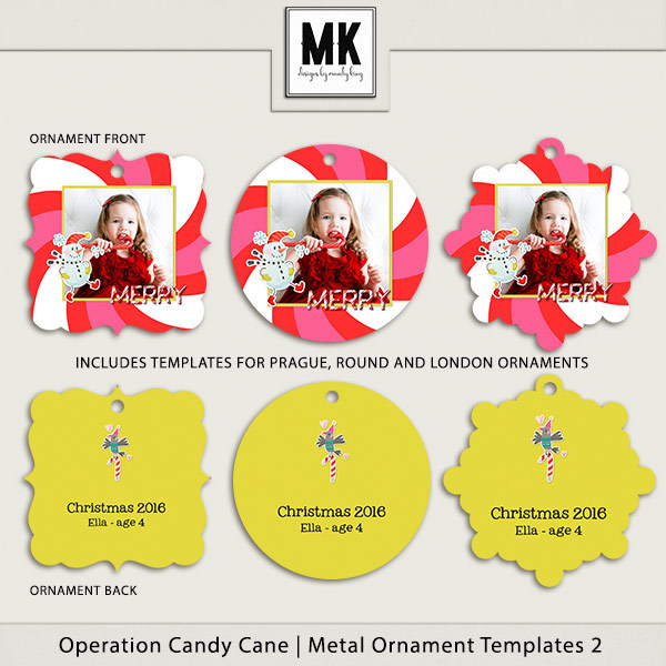 Operation Candy Cane - Metal Ornaments 2 Digital Art - Digital Scrapbooking Kits