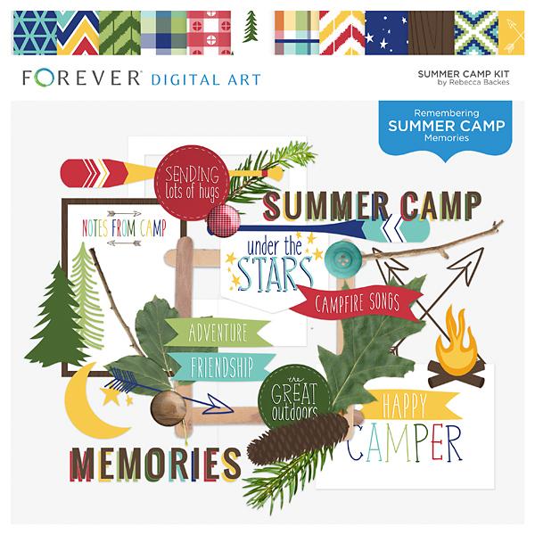 Summer Camp Kit Digital Art - Digital Scrapbooking Kits