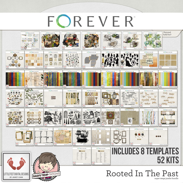 Rooted In The Past Part Two Super Mega Jumbo Bundle Digital Art - Digital Scrapbooking Kits