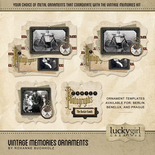 Vintage Memories Ornaments Digital Art - Digital Scrapbooking Kits