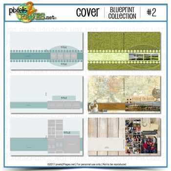 Cover Blueprint Collection #2 Digital Art - Digital Scrapbooking Kits