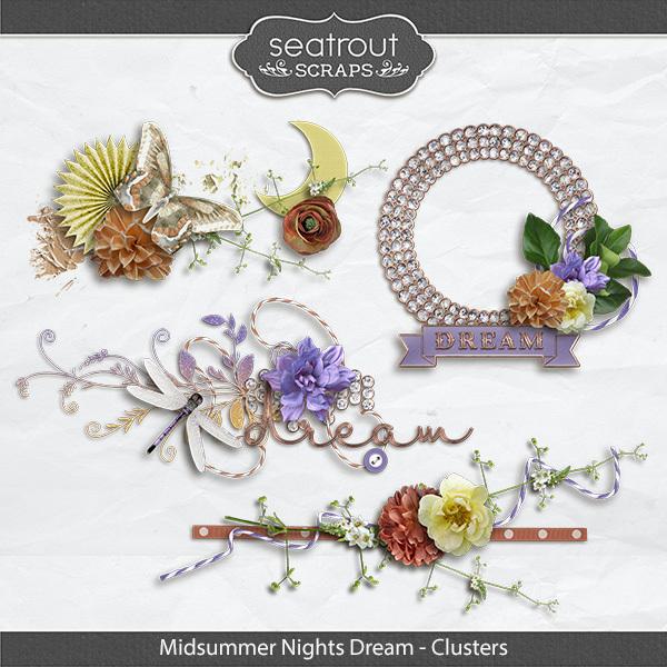 Midsummer Nights Dream Clusters Digital Art - Digital Scrapbooking Kits