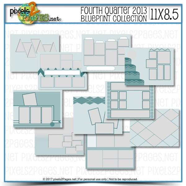 11x8.5 Fourth Quarter 2013 Blueprint Collection Digital Art - Digital Scrapbooking Kits