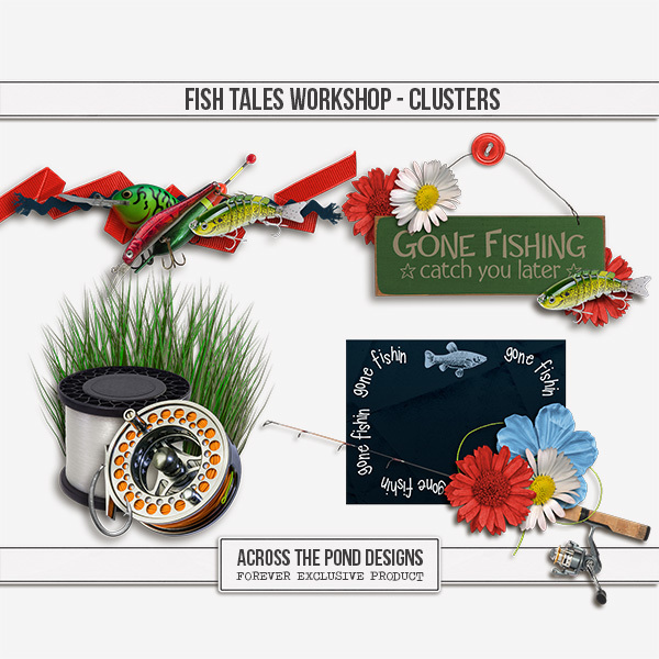Fish Tales Workshop - Clusters Digital Art - Digital Scrapbooking Kits