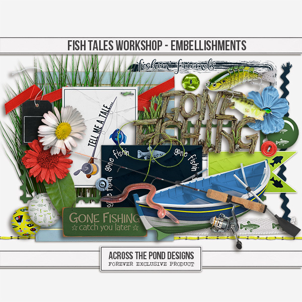 Fish Tales Workshop - Embellishments Digital Art - Digital Scrapbooking Kits