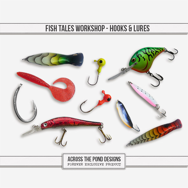 Fish Tales Workshop - Hooks And Lures Digital Art - Digital Scrapbooking Kits