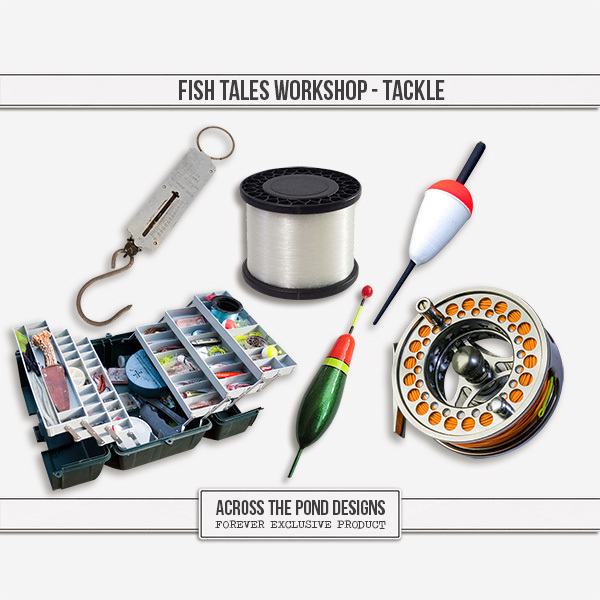 Fish Tales Workshop - Tackle Digital Art - Digital Scrapbooking Kits