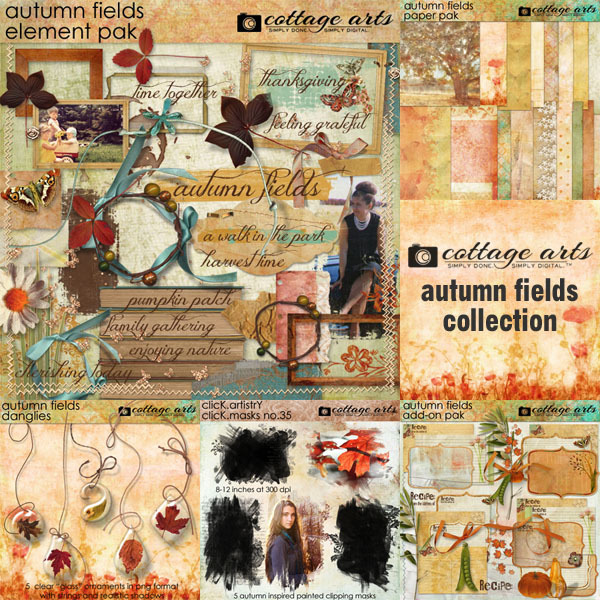 Autumn Fields Collection Digital Art - Digital Scrapbooking Kits