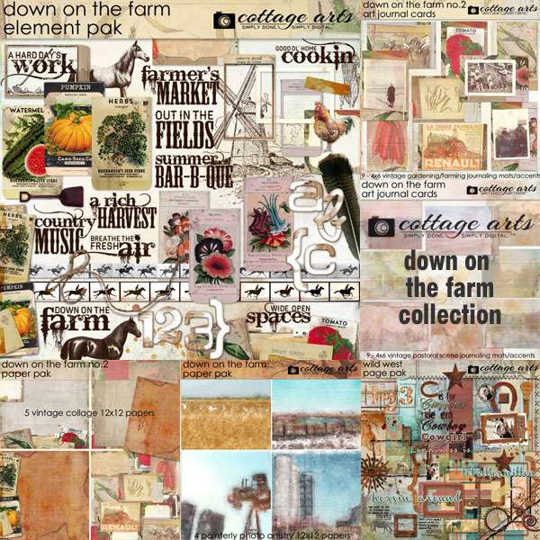 Down On The Farm Collection Digital Art - Digital Scrapbooking Kits