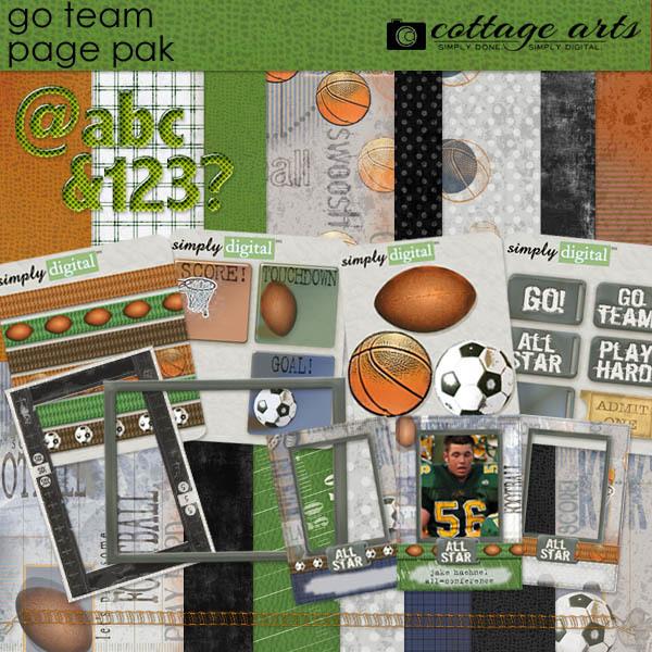Go Team Page Pak Digital Art - Digital Scrapbooking Kits