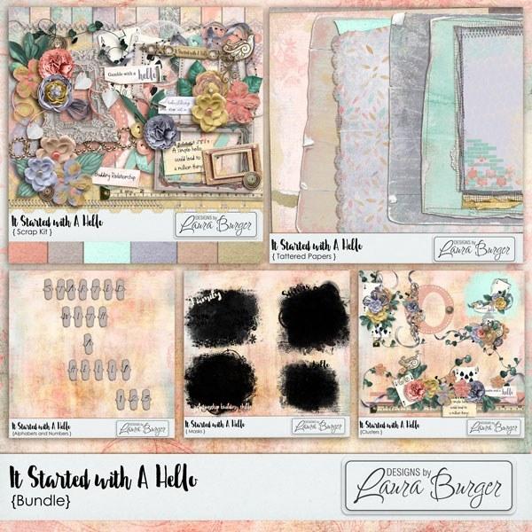 It Started With A Hello Bundle  Digital Art - Digital Scrapbooking Kits