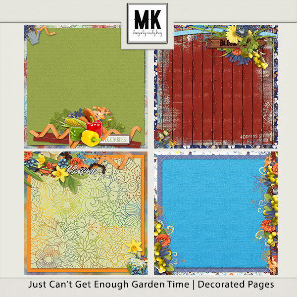 Just Can't Get Enough Garden Time - Decorated Papers Digital Art - Digital Scrapbooking Kits