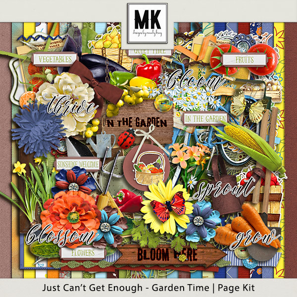 Just Can't Get Enough Garden Time - Page Kit Digital Art - Digital Scrapbooking Kits