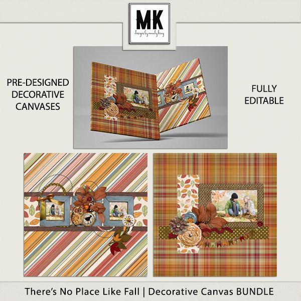 There's No Place Like Fall - Decorative Canvas Bundle Digital Art - Digital Scrapbooking Kits