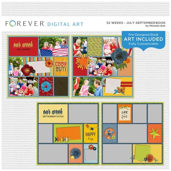 52 Weeks - July-September Book Digital Art - Digital Scrapbooking Kits