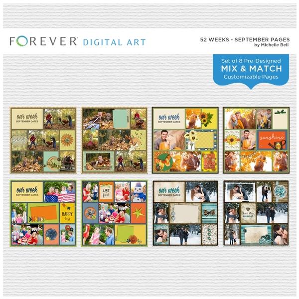 52 Weeks - September Pages Digital Art - Digital Scrapbooking Kits