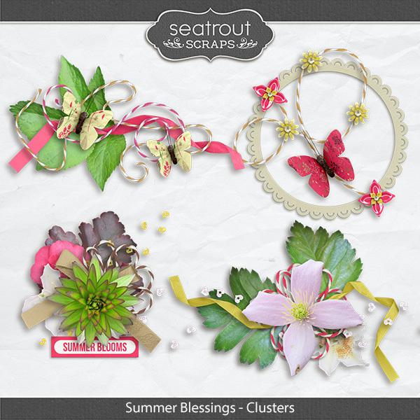 Summer Blessings Clusters Digital Art - Digital Scrapbooking Kits