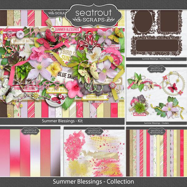 Summer Blessings Discounted Bundle Digital Art - Digital Scrapbooking Kits
