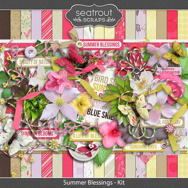 Summer Blessings Kit Digital Art - Digital Scrapbooking Kits
