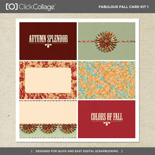 Fabulous Fall Card Kit 1 Digital Art - Digital Scrapbooking Kits