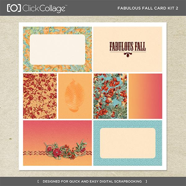 Fabulous Fall Card Kit 2 Digital Art - Digital Scrapbooking Kits