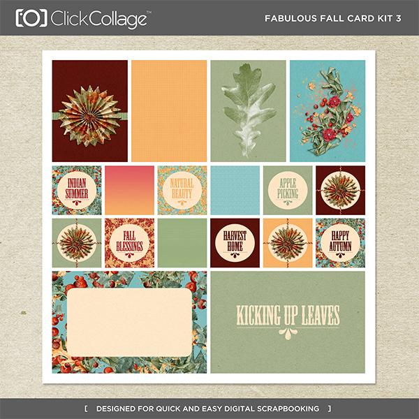 Fabulous Fall Card Kit 3 Digital Art - Digital Scrapbooking Kits
