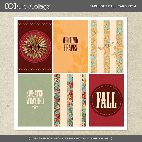 Fabulous Fall Card Kit 4 Digital Art - Digital Scrapbooking Kits