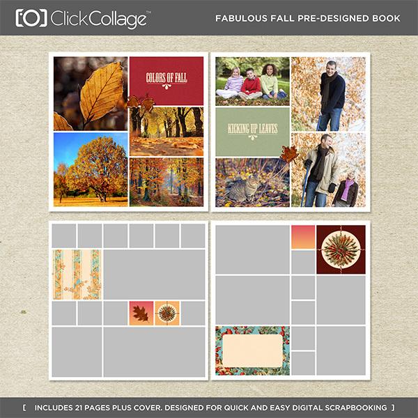 Fabulous Fall Pre-designed Book Digital Art - Digital Scrapbooking Kits