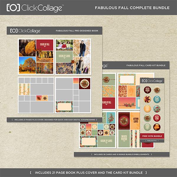 Fabulous Fall Pre-designed Book And Card Kit Bundle Digital Art - Digital Scrapbooking Kits