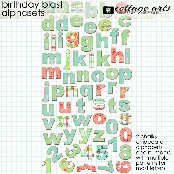 Birthday Blast Alphasets Digital Art - Digital Scrapbooking Kits