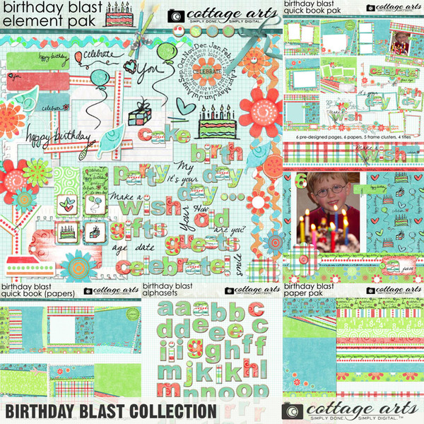 Birthday Blast Collection Digital Art - Digital Scrapbooking Kits
