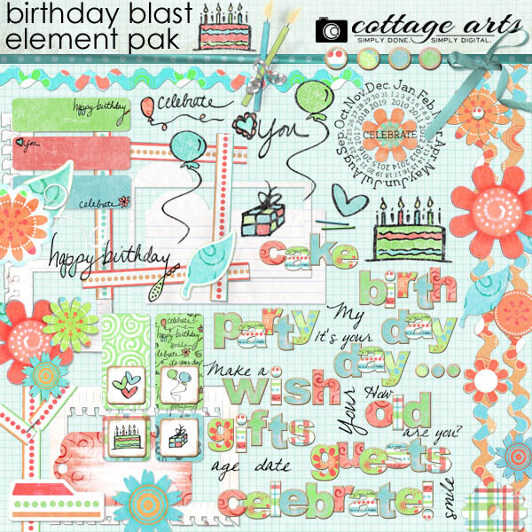 Birthday Blast Element Pak Digital Art - Digital Scrapbooking Kits