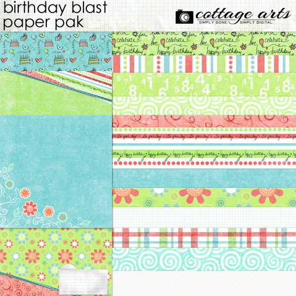 Birthday Blast Paper Pak Digital Art - Digital Scrapbooking Kits