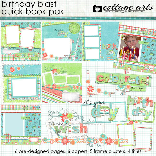Birthday Blast Quick Book Pak Digital Art - Digital Scrapbooking Kits