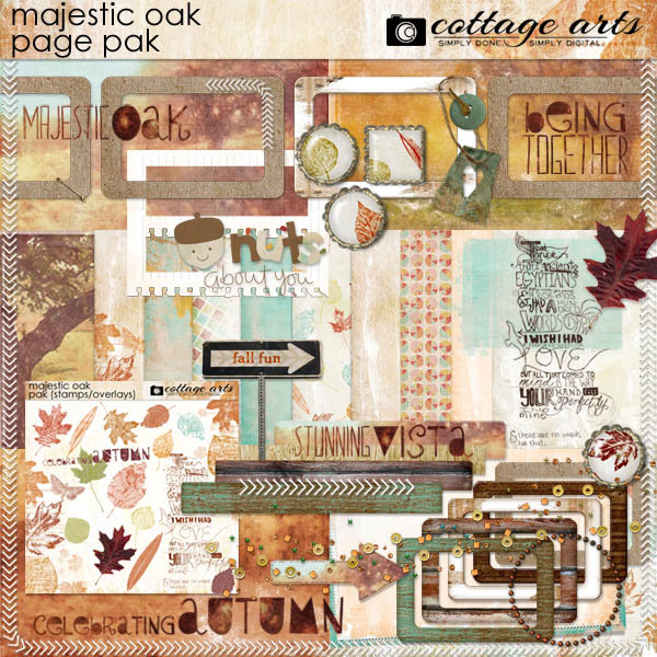 Majestic Oak Page Pak Digital Art - Digital Scrapbooking Kits
