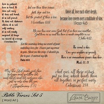 Bible Verses Set 5 Digital Art - Digital Scrapbooking Kits