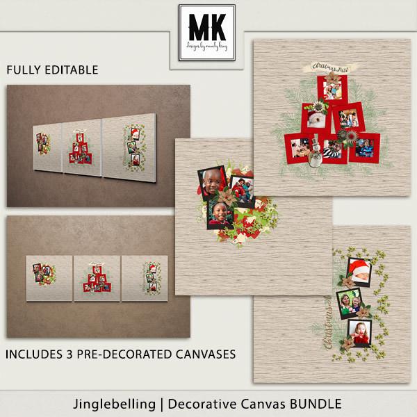 Jinglebelling - Decorative Canvas Bundle Digital Art - Digital Scrapbooking Kits