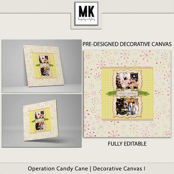 Operation Candy Cane - Decorative Canvas 1 Digital Art - Digital Scrapbooking Kits