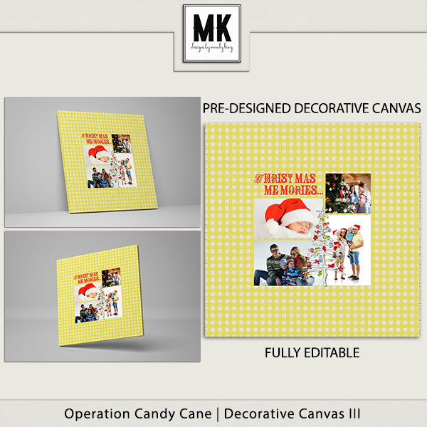 Operation Candy Cane - Decorative Canvas 3 Digital Art - Digital Scrapbooking Kits