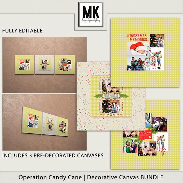 Operation Candy Cane - Decorative Canvas Bundle Digital Art - Digital Scrapbooking Kits