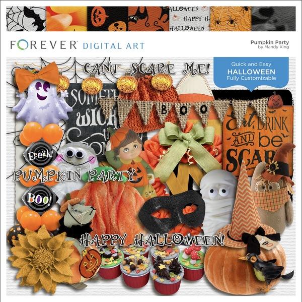Pumpkin Party Digital Art - Digital Scrapbooking Kits